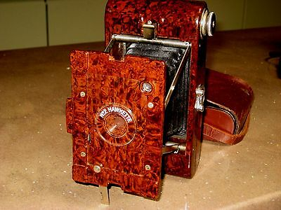 KODAK No 2 HAWKETTE FOLDING CAMERA 120 ROLL FILM  ART-DECO c1930 LEATHER CASE