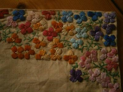 Vintage/retro yellow linen with multi colour vibrant embroidered flowers