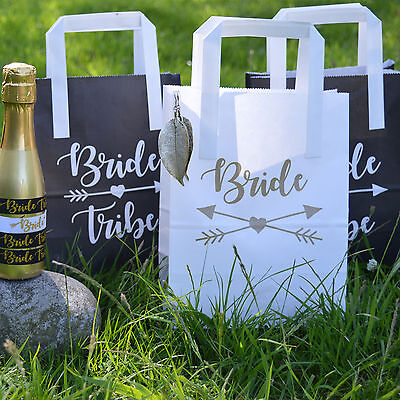 BRIDE TRIBE HEN PARTY BAGS - Black and White Hen Party Goody Bags Paper Bags