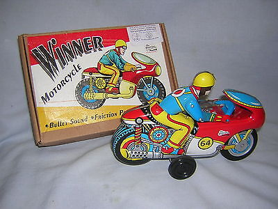 Vintage 1964 Winner Friction Powered Motorcycle Tin Litho ~ New In Original Box