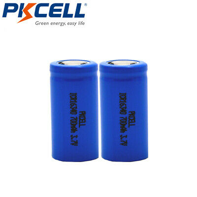 2Pcs 16340 Lithium CR123A RCR123A 3.7V 700mAh Rechargeable Batteries Flat Top