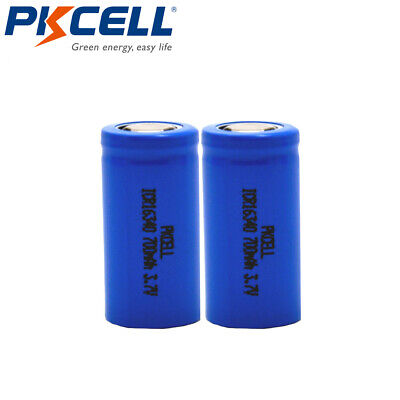 2x 16340 Lithium CR123A RCR123A 3.7V 700mAh Li-ion Rechargeable Batteries Cell