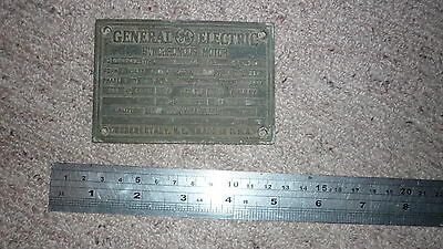 OLD 1940s ENGINE PLATE & MACHINERY BRASS BADGE, GE SYNCHRO MOTOR, SCHENECTADY NY