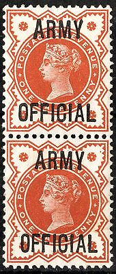SG O41 ½d Vermilion 'ARMY OFFICIAL' Unmounted Mint PAIR. Superb. [6c5]