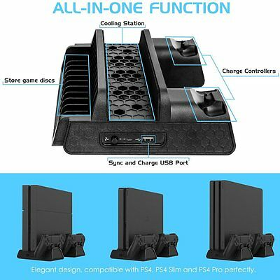 For PS4/PS4 Slim/PS4 Pro Vertical Cooling Fan Stand with Dual Controller Charge