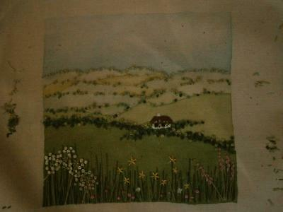 Embroidered scene - painted background with embroid. flowers etc