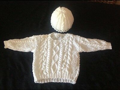 Hand Knitted - Cable Jumper & Hat Set