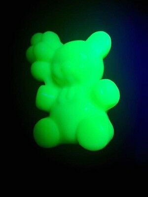 Uranium Glass Patrick The Bear Figurine By Boyd Glass