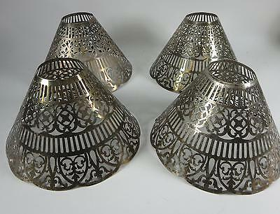 Four Gorham Vintage Silverplate Reticulated Pierced Candle Shades Lampshades