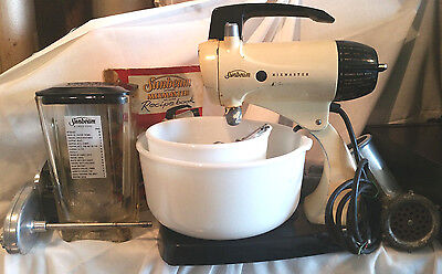 Vintage 1958 Sunbeam Mixmaster Food Mixer With Book and Bowls