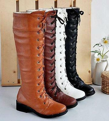 Ladies PU Leather Low Block Heels Lace Up Knee High Riding Boots Shoes Brown UK5