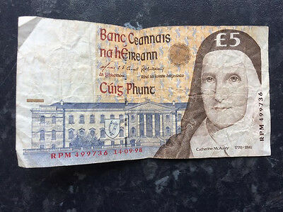 Irish Punt £5 note currency vintage Eire pound note Bank of Ireland. 14-09-98