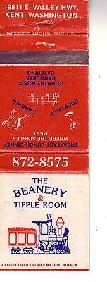 Matchbook Cover ! The Beanery & Tipple Room, Kent, Washington !
