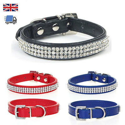 Rhinestone Diamante Crystal Bling Band Dog Cat Puppy Pet Collar Pu Leather Tag