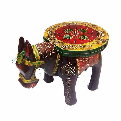 Wooden Horse Shape Stool with Embosed Work