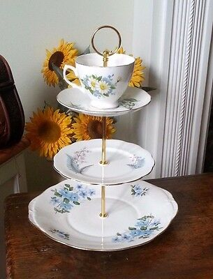 3tier Vintage /Shabby Chic Bone China Cake stand Afternoon Tea/ Party/ Wedding