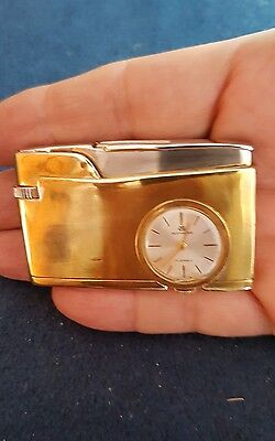 VINTAGE SOLID BRASS Lighter with running BUCHERE watch 17 jewels and spark.