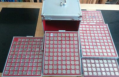 Large American coin collection from 1930 +AluminiumLindner case+Trays 320 coins