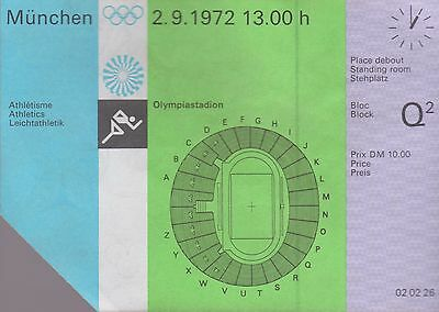 Vintage 1972 Olympic Athletics Ticket