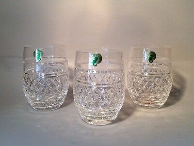 WATERFORD CRYSTAL RARE VINTAGE SET OF 3 CASTLETOWN 10oz TUMBLERS NEW, OLD STOCK