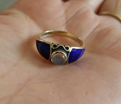 Vintage 9Ct Gold Moonstone And Enamel Ring