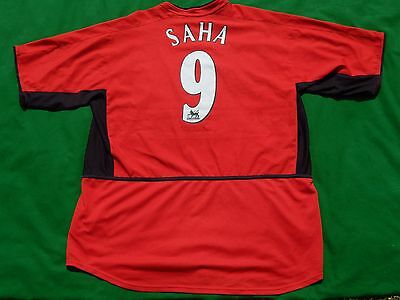 Manchester United 2002-04 Football Home Shirt Saha 9 ,mens Xl