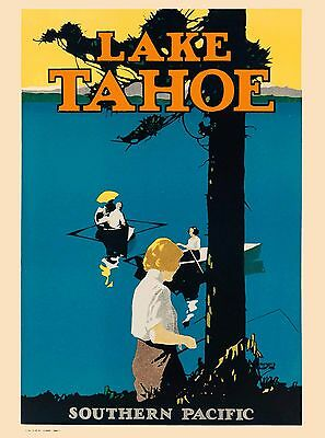 Lake Tahoe Nevada Southern Pacific United States Travel Advertisement Poster