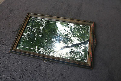Old Antique Wall Mirror Solid Fine Wood Frame Vintage Decor about 18 x 12 Shabby