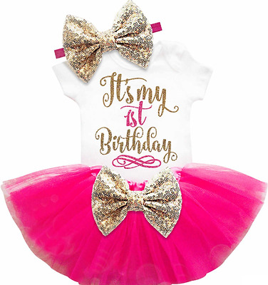 Brand New Baby Girls 'It's My First Birthday' Tutu Romper 1st Clothing