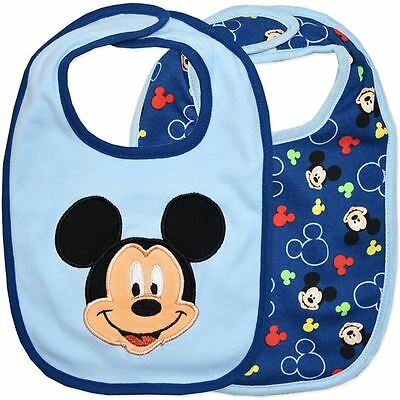 Licensed Disney 2 Pack Baby Bibs Mickey Mouse Poly Cotton