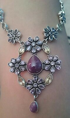 42ct RUBY AMETHYST AND CITRINE STERLING SILVER NECKLACE 43g