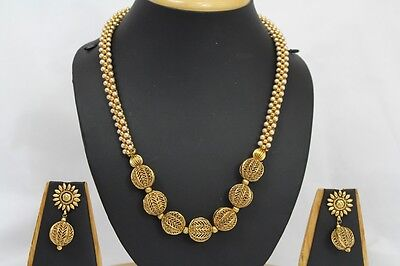 Bollywood Style Indian Golden Ball Jewellery Party Necklace Earrings Set 264