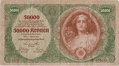 Very scarce 50 000 Kronen 1922 with star before the serial number.Look photos.