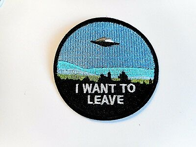 1x UFO Want Leave Patches Embroider Cloth Applique Badge Iron Sew On Alien Space