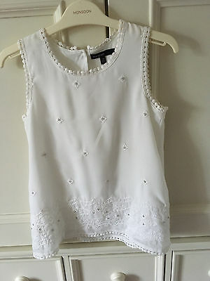 M&S Autograph Girls Ivory Top Size 7-8 Years
