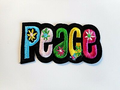 1x Peace Hippie Patches Embroidered Cloth Patch Applique Badge Sew On Punk