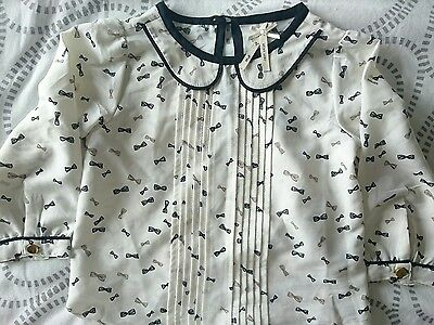 NEXT bow print shirt blouse top age 2-3 years
