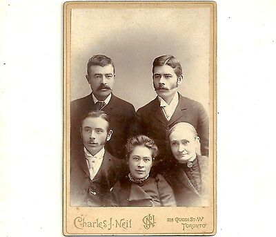 Vintage Cabinet Card Photo Hills Family Toronto Ontario Antique Photograph