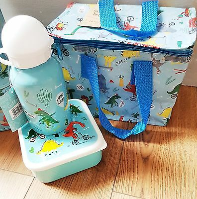 Set of 3 Matching Dinosaur Cooler / Lunch Bag, Bottle & Lunch Box Sass And Belle