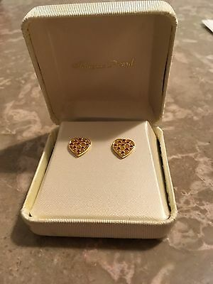 Heart Shaped Earring Gold Color with Red Storns
