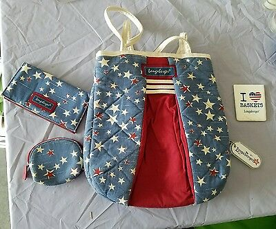 Longaberger American STARBURST Tote Bag PURSE~checkbook~coin purse~mirror~keycha