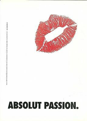 ABSOLUT PASSION Canadian Vodka Magazine Ad RARE LARGE LIPS VERSION