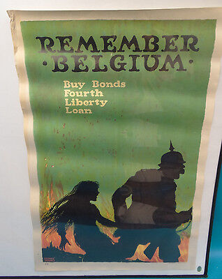 1918 WWI Ellsworth Young Original Lithograph Military Remember Belgium Poster