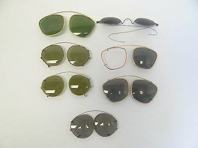 Mixed Antique Vintage Lot Green Clear Tinted Sunglasses Glasses Frames Parts