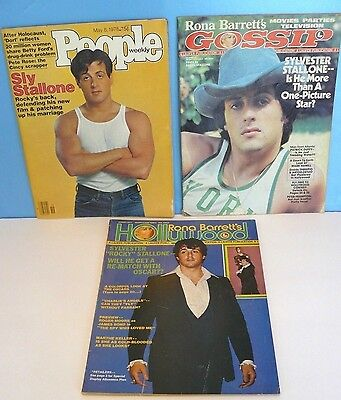 SYLVESTER STALLONE ~ROCKY~ Lot of 3 Vtg. MAGAZINES 1977 HOLLYWOOD/ 1978 PEOPLE