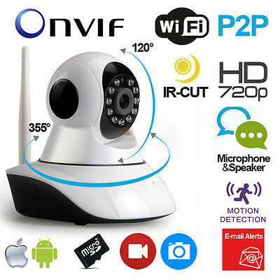 Telecamera Ip Onvif Hd 720P Wireless Led Ir Lan Motorizzata Wifi Rete Internet