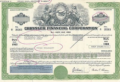 USA Amerika Chrysler Financial Corporation 9,5% Note due 1983
