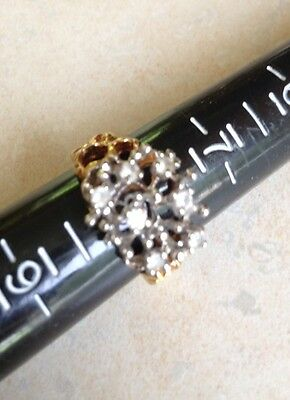 Vintage 18k Gold Plated Womens CZ Cluster Fashion Cocktail Ring Size  8 Unique
