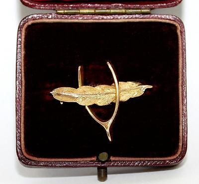 Victorian Sentimental Brooch FEATHER & WISHBONE , 15ct Gold, Chester 1889