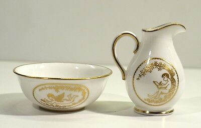 Miniature Spode White & Gilt Bone China Ewer & Basin Set.